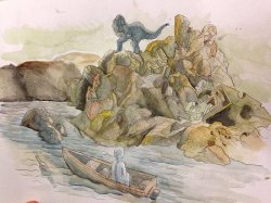 A water color painting of man floating down the rapids who then sees a dinosaur atop a rocky edifice